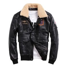 Leather Jacket Menfolk Wool Collar jaqueta de couro masculino 100% Genuine Cow Leather Short Aviator Coat Flight Outerwear-in Genuine Leather Coats from Men's Clothing & Accessories on Aliexpress.com | Alibaba Group