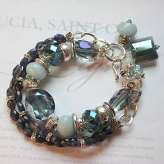 Holiday Sale bracelet blue velvet iolite aquamarine by molliecarey