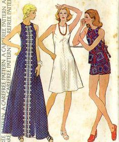 Vintage 70s McCalls 4050 Misses Backless Maxi Dress by RomasMaison