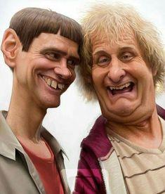 Jim Carrey and Jeff Daniels, in Dumb and Dumber❤Caricatures! Cartoon People, Cartoon Faces, Funny Faces, Funny People, Cartoon Art, Funny Caricatures, Celebrity Caricatures, Celebrity Drawings, Caricature Artist