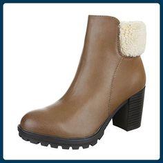 585c48d97fbdc2 Klassische Stiefeletten Damen-Schuhe Pump Leicht Gefütterte Ital-Design  Stiefeletten Braun