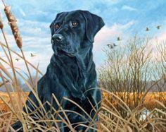 Black Lab Hunting Dog Vintage Painting on Framed Canvas Wall Art Print Canvas Art Prints, Canvas Wall Art, Black Labrador Dog, Animal Print Decor, Landscape Artwork, Wildlife Art, Dog Portraits, Dog Art, Canvas Frame