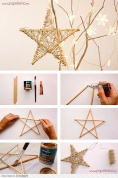 Wood, string star. Spray bronze or copper