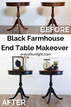 How to paint end tables in black milk paint. A thrift find furniture makeover for living room, or bedroom furniture. Pair of Matching Black Antique Drum Tables in Old Barn Milk Paint by A Ray of Sunlight #milkpaint #furnituremakeover #blackfurniture #homedecor #diy #paintedfurniture