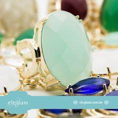 O anel Kate está lindo, não está? A pedra Ágata Céu dá ainda mais brilho a peça que tem um design diferenciado ... www.eleglam.com.br