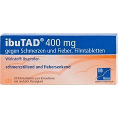 IBUTAD 400 mg gegen Schmerzen und Fieber Filmtabletten:   Packungsinhalt: 20 St Filmtabletten PZN: 06407547 Hersteller: TAD Pharma GmbH…