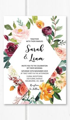 Burgundy wedding invitation printable wedding invitations aet, floral wedding invite suite, garden wedding ideas from Pink Summer Designs on Etsy #weddingideas