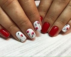 Red and White nails with flowers