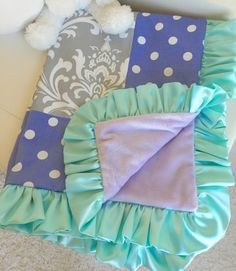 Grey Damask, Lavender, and Mint Crib Bedding