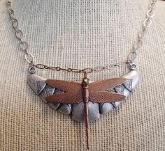 Dragonfly Necklace. Mixed Metal Necklace.  Copper Antique Silver Necklace. Assemblage Necklace. Statement Necklace by riversedgecreations. Explore more products on http://riversedgecreations.etsy.com