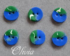 Buttons handmade in polymer clay / Fimo clay /Kato clay.    6 pcs. about 12-13 mm in diameter.      Handmade buttons are slightly different in shape a