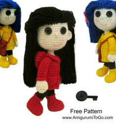 Sharon Ojala / Free Pattern + Video / How To Crochet Coraline~ and a ton more FREE amigurumi videos :D
