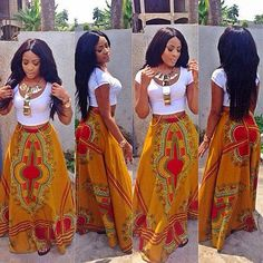 African Maxi Circle Skirt, beautifully done with dashiki fabric and styled with a simple crop top. The look is perfect for festivals, picnics, boat rides.