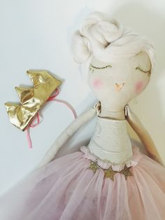 Image of OOAK Handmade, Cream haired Princess cloth doll