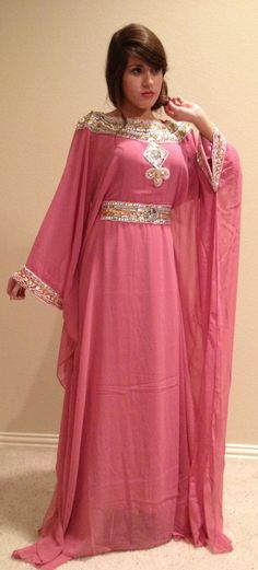 LF15 Chiffon Maxi Dress Beaded Caftan One by ForTheDesertRoses, $95.00
