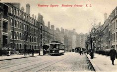 Rosebery Avenue looking south, with Rosebery Square East (left) and West (right), c. London Square, History Online, New River, Old London, London Photos, Lungs, British History, Old Pictures, Roads