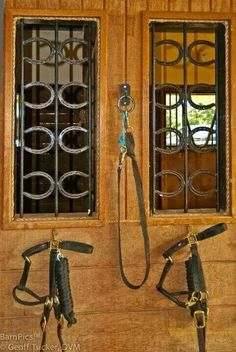 I love these stall windows! You could even use that horse's own used horse shoes for their stall.