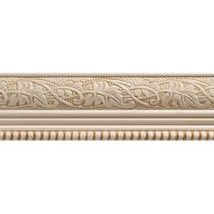 Ornamental Mouldings 1825 in. x 96 in. White Hardwood Embossed Ivy/Bead Trim Chair Rail Moulding at The Home Depot - Mobile Chair Rail Molding, Panel Moulding, Dentil Moulding, Moldings, Ornamental Mouldings, Decorative Mouldings, Home Depot, Pine Chairs, Bar Chairs