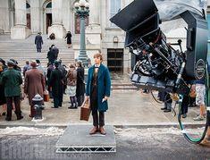Eddie Redmayne sur le tournage des Animaux Fantastiques