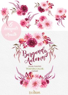 Dahlias Watercolor Wreath & Bouquets clipart Burgundy Autumn