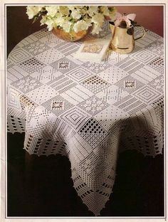 A large square tablecloth of different motives