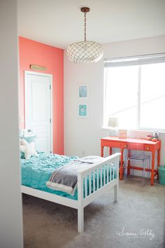 Girls bedroom, coral and teal coral girls rooms, teal rooms, coral bedroom, Coral Walls Bedroom, Teal Room Decor, Peach Bedroom, Bedroom Turquoise, Bedroom Color Schemes, Home Decor Bedroom, Bedroom Girls, Bedroom Ideas, Girls Bedroom Colors