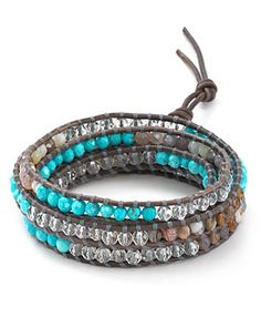 Chan Luu Five Wrap Turquoise and Botswana Agate Bracelet | Bloomingdale's