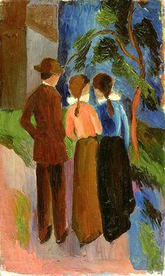 August Macke (Meschede 1887 – 1914 Perthes-les-Hurlus): Spaziergang zu dritt, 1914. Öl auf Leinwand, 56,3 x 33,7 cm; © Thyssen-Bornemisza Collections