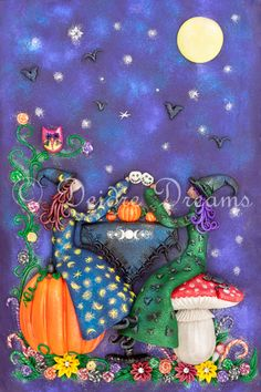 $20.00 #witch #witches #witchesteaparty #teaparty #witchart #witchillustration #pumpkin #toadstool #fullmoon #artprint Tea Party Witches love getting together by the light of the full moon. They pull up a toadstool or a pumpkin to sit on. They drink tea and hot chocolate from skully cups and a pumpkin teapot. Their cupcakes are topped with buttercream and cherries. Bats and crows love attending witch tea parties because there are always fun stories to be heard.