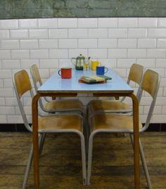 Vintage Industrial Formica Bent Ply School Dining Table / Desk