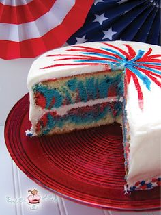 4th of July fireworks cake  ( I have used jello mix alot to color and flavor white cakes...would work here too just add dry to batter)