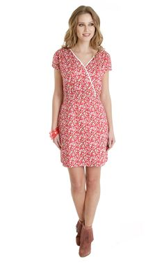 437 Kimono Kut Dress Red And Pink Floral D... - SilkFred