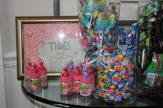 "About to Pop Baby Shower Theme - ""things that pop"" table"
