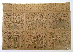Altar Frontal Germany, Lower Saxony, circa 1380 Textiles; altar cloths Polychrome silk and natural linen embroidery on natural linen 29 1/2 x 42 1/2 in. (74.93 x 108 cm)