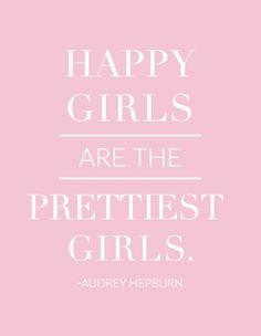 pink happy girls are the prettiest girls audrey hepburn quote print kelly elizabeth designs