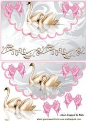Pretty Swans with Bows on Scalloped Envelope