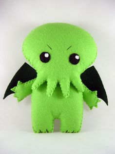 Cranky Cthulhu Felt Plush  Neon Lime Green by SWStitchery on Etsy