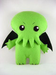 Cranky Cthulhu Felt Plush  Neon Lime Green by SWStitchery on Etsy, $25.00