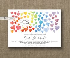 Watercolor hearts and hand lettering on wedding invitation. Casual and very cute.