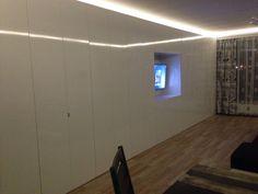 Full wall white living furniture