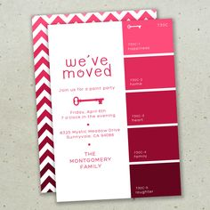 Moving Announcement - Paint Swatch - Digital DIY Printable Card. $15.00, via Etsy.