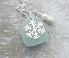 Scottish Sea Glass and Sterling Silver Snowflake Necklace - SNOWFLAKE £23.50