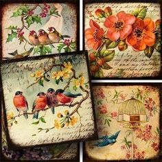 Each tiny little collage takes up to 30 different layers of vintage ephemera to make. Birds and flower #printables for jewelry and mixed media crafts. Piddix no. 719