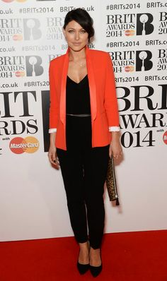 Pin for Later: No Wonder Big Brother's Emma Willis Is the Celeb Mum We All Want to Look Like Emma Willis Emma's never afraid of trying bold colours, as this tomato-hued blazer proved. Orange Blazer Outfits, Red Trousers Outfit, Coral Blazer, Colored Blazer, Emma Willis, Fashion Now, Fashion Books, What To Wear Tomorrow, Smart Outfit