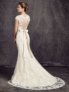 V Neck Cap Sleeve Sheath Lace Wedding Dress with Crystal Ribbon _1