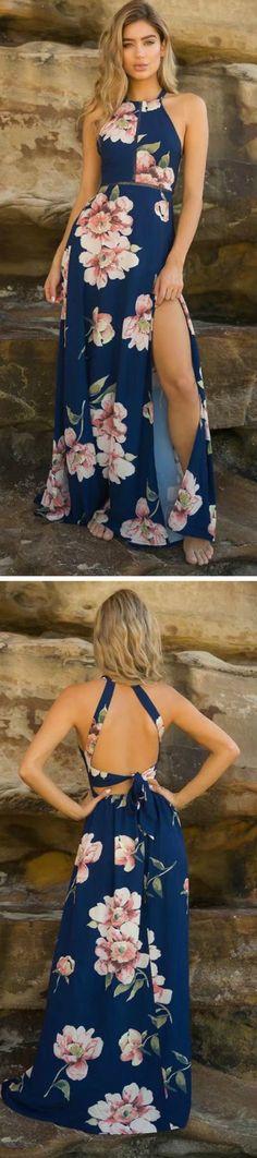 Bohemian Halter Backless Floral Printed Split Maxi Dress
