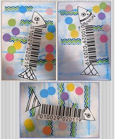 Reconstitution de sardines en codes barres et gommettes....  Fonds aux craies sèches et masking tape....