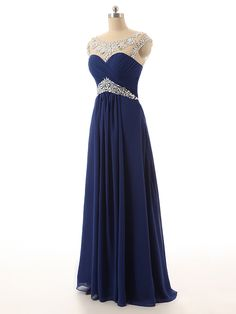 Neweat Royal Blue Prom Dresses Illusion Neckline Floor Length Chiffon Long Prom Gowns,Prom Dresses- **Explore Lots of Wedding Invitaion Sets !- GO TO... http://WeddingInvitationSets.com