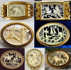 French celluloid brooches, presumably from the or These brooches were made by Les Creations Malupa Paris, France, but are not sig. Vintage Costume Jewelry, Vintage Costumes, Vintage Jewelry, Horns Costume, Antique Collectors, Vintage Photos, Decorative Boxes, Carving, Brooch