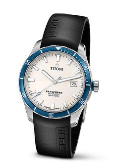 Titoni Seascoper Automatic Analog Date Black Rubber Watch# 83985SBB-RB-516 (Men Watch)